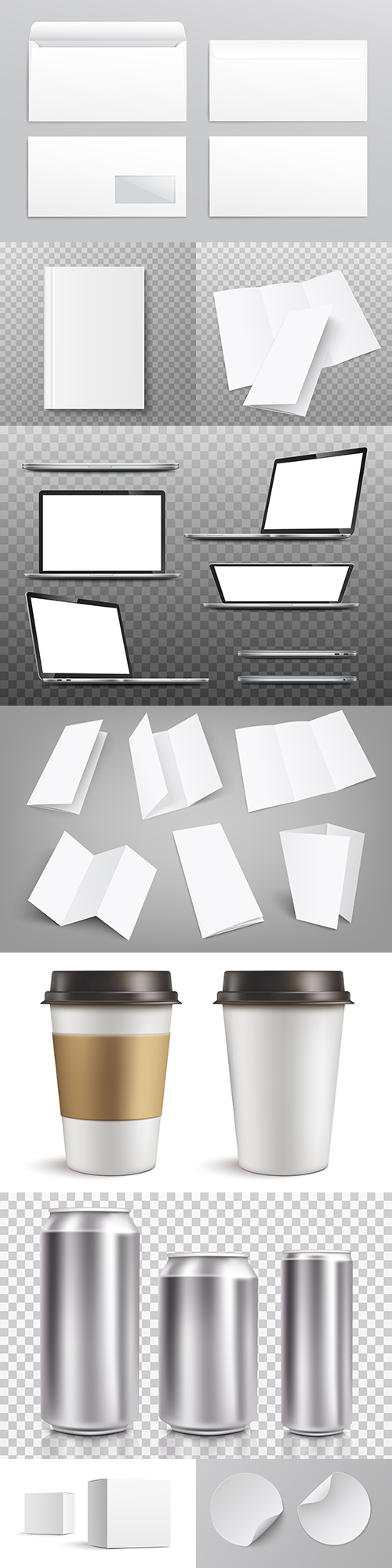 Realistic templates for design collection illustrations