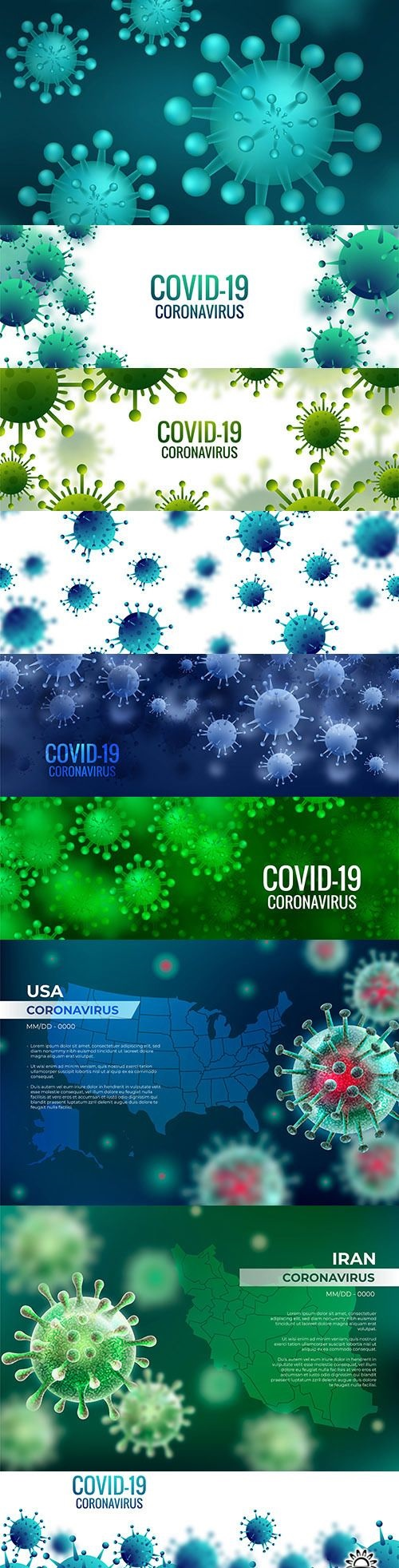 Coronavirus cell banner and realistic background with map