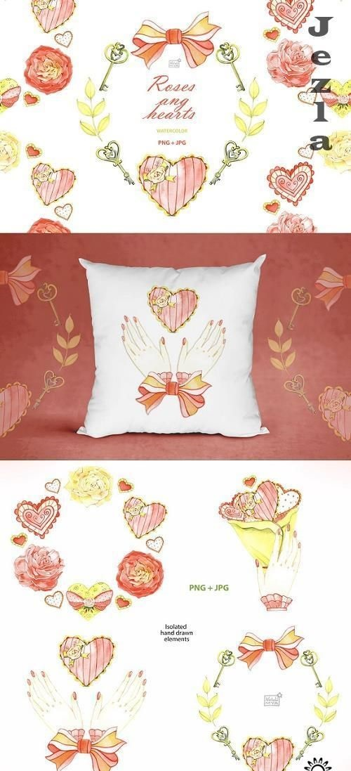 Watercolor roses and hearts clipart - 4800086