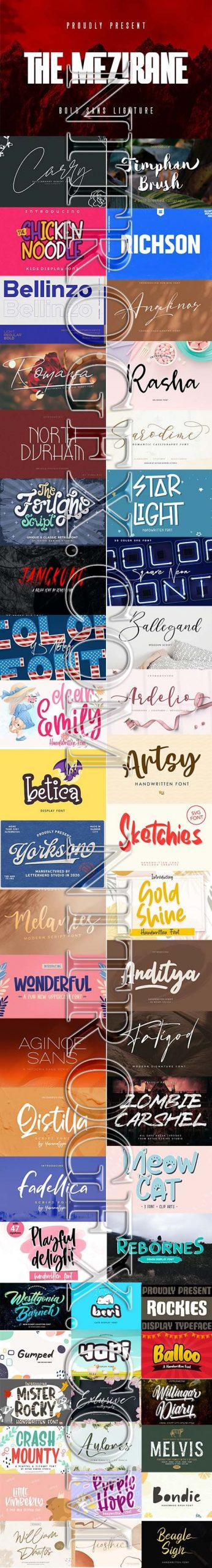 New Creative Fonts 2020 - More 50 Font in 1 Pack!