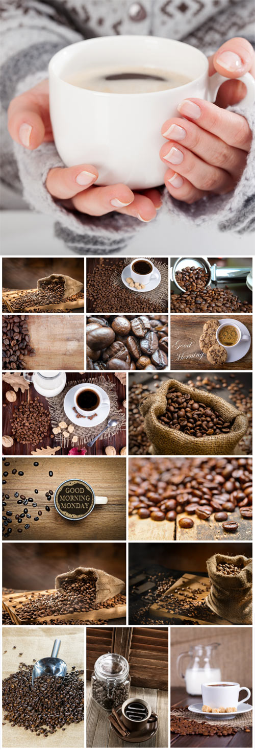 Coffee and coffee beans in sack stock photo