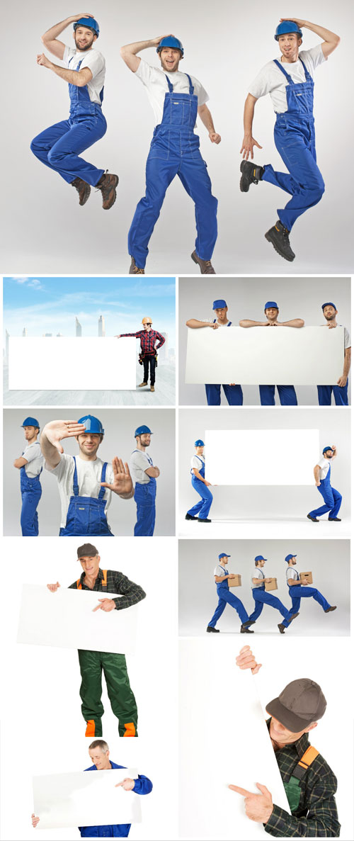 Men in work clothes stock photo