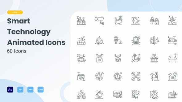VIDEOHIVE ANIMATED SMART TECHNOLOGY LINE ICONS
